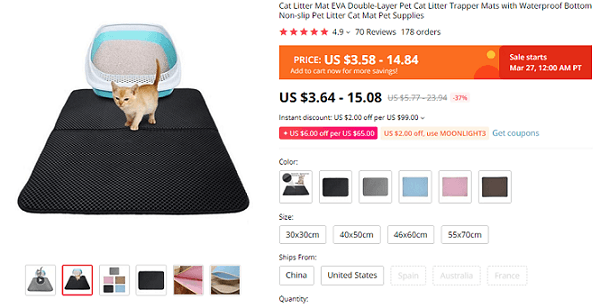 The cat litter mat product page on AliExpress