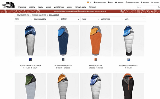 Product listings on The North Face