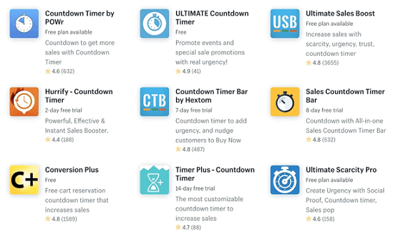 Shopify has a range of timer apps you can use to add a sense of urgency