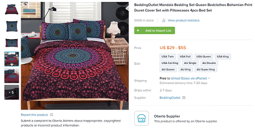 Consider selling bedding if you're targeting the home decor niche