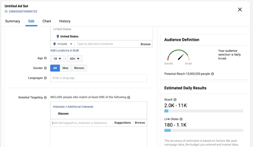 Deciding on the ideal number of audience to target on Facebook