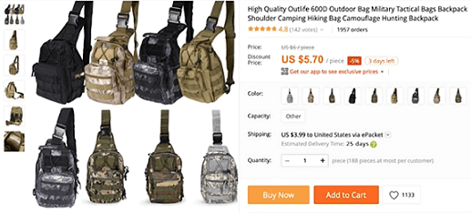 The shoulder military bag is a winning product you should dropship