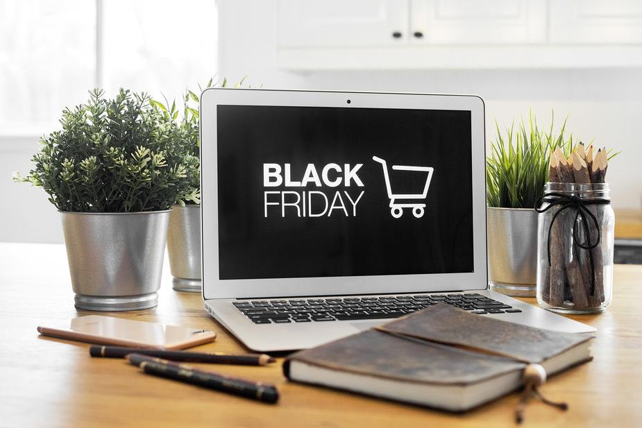 Black Friday displayed on a laptop screen