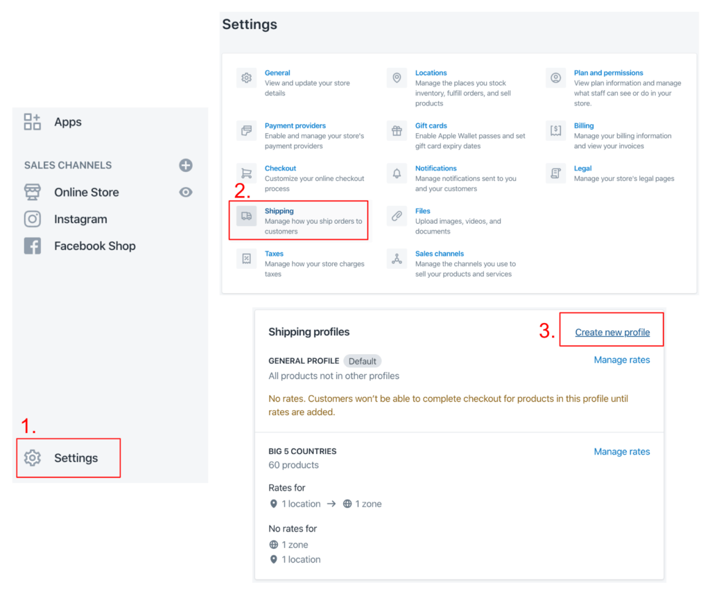 Screenshots of setting up shipping rates in Shopify