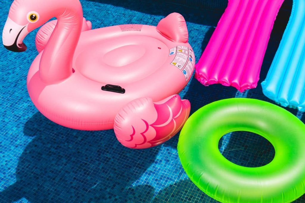 Inflatable toys floating in a pool