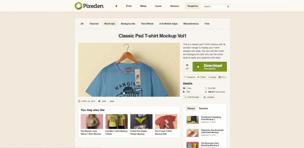 create t-shirt mockups with pixeden