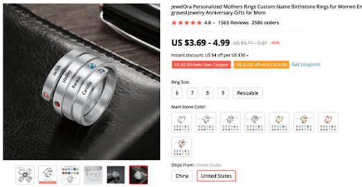 Target mothers, grandmothers, and a male audience for this customized birthstone ring