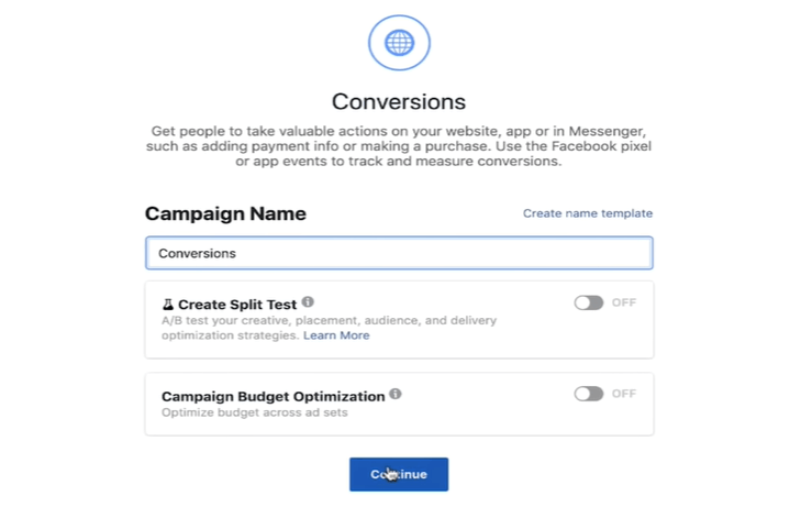 Set conversions as the main objective and de-select CBO as part of your Facebook ads formula