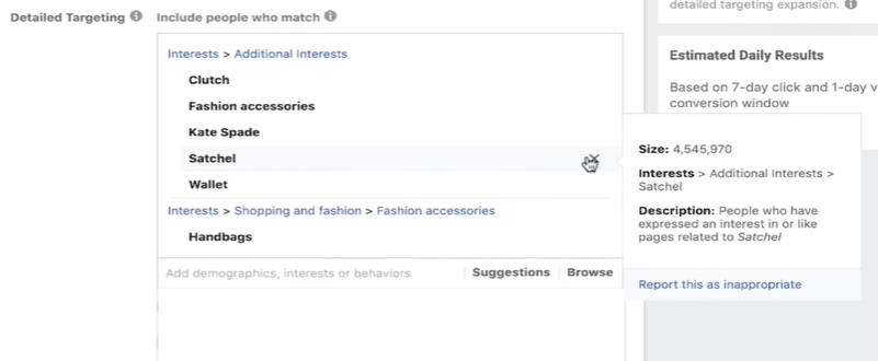 Selecting five target interests as part of your Facebook ads formula