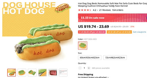 The hot dog dog bed has huge potential as a product to start selling today
