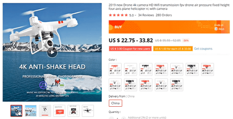 Drones feature on the list of products to avoid dropshipping in 2020