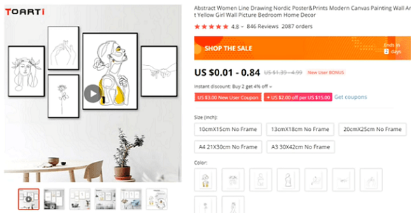Abstract line art is a great one-product store recommendation