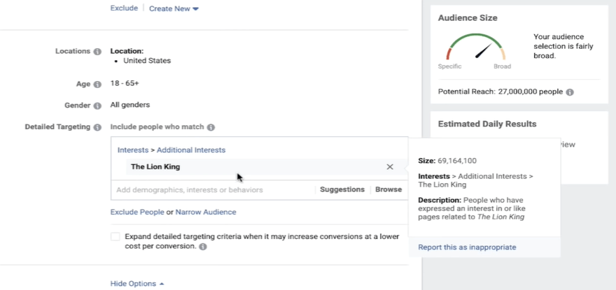 Interest targeting on Facebook
