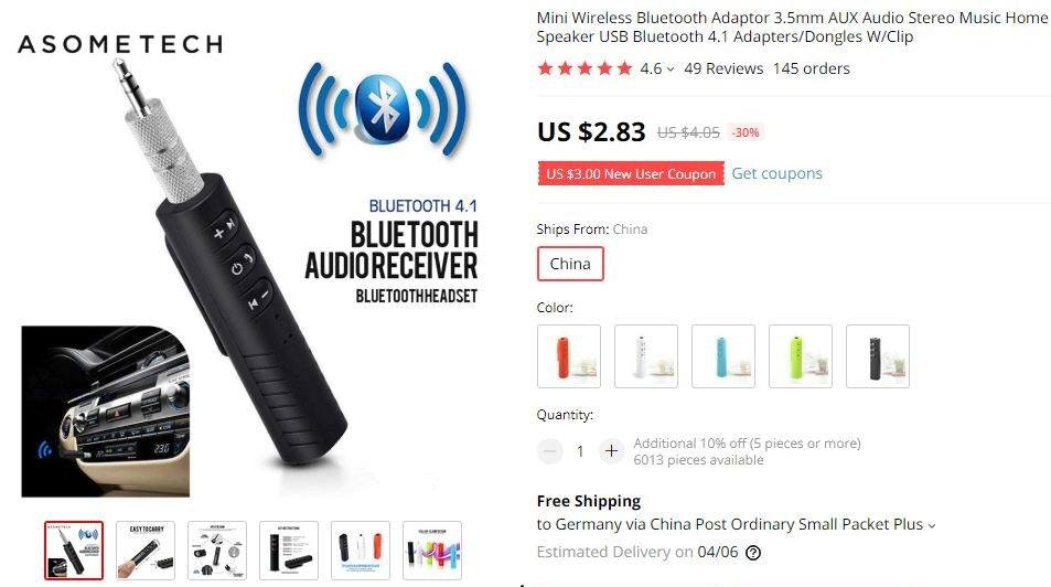 Fifth product recommendation is a wireless bluetooth adaptor