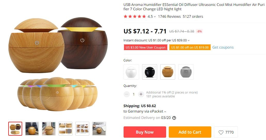 Fourth product recommendation is an oil diffuser