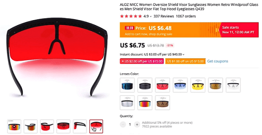 Sell these visor sunglasses as part of your men's accessories niche in 2020