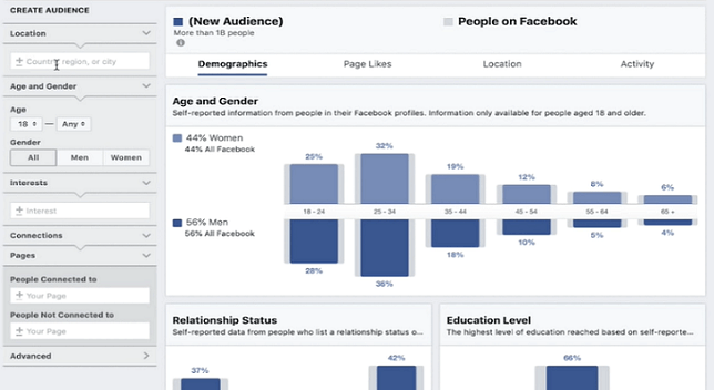 Use the Facebook Audience Insights tool to manage the demographics of your audience