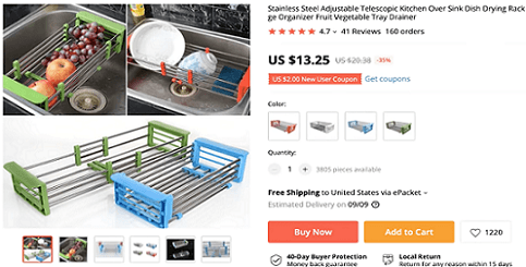 An adjustable kitchen rack is the fifth product recommendation by the CEO of Ecomhunt