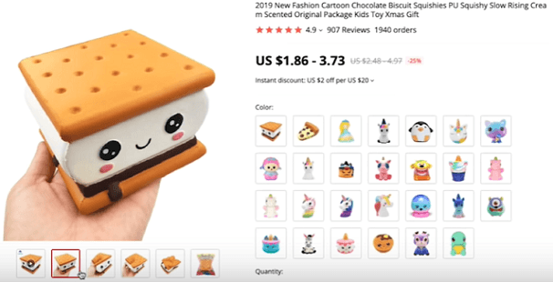 Don't dropship these s'mores squishies without marketing them with their supplier product video
