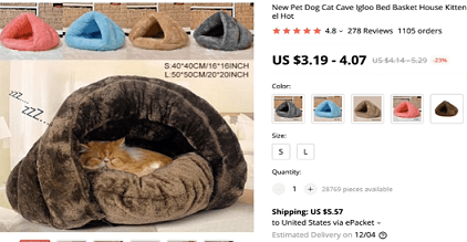 This pet igloo bed is a great product to dropship, according to Paul Lee