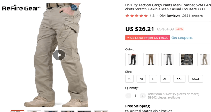Seven-figure dropshipper Paul Lee recommends selling these tactical work pants