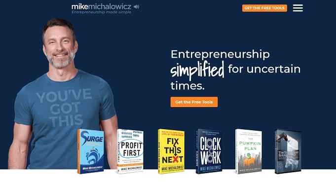 Mike Michalowicz's website screenshot