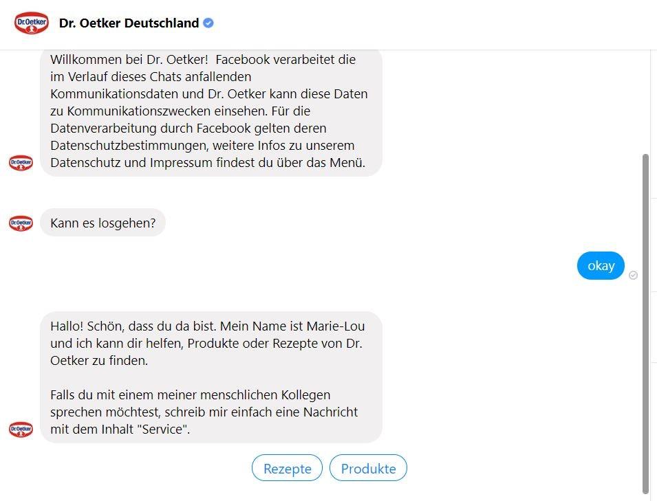 Chatbot Beispiel Dr. Oetker