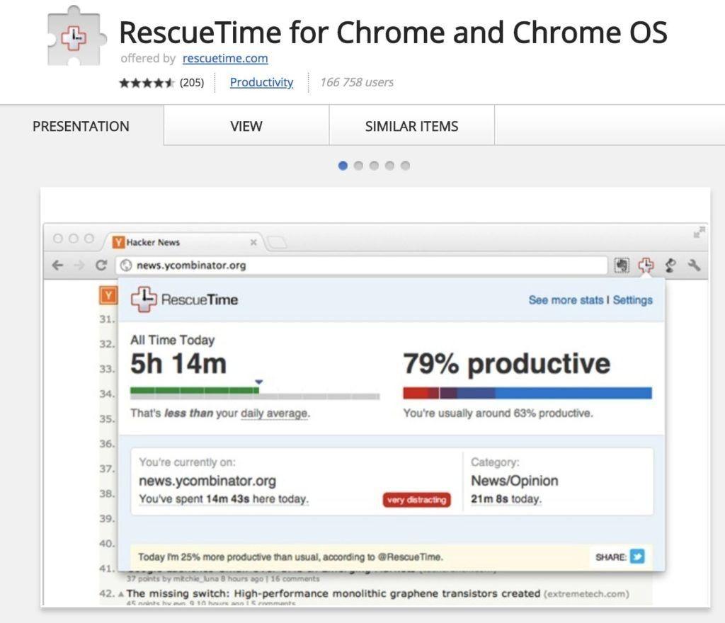 Chrome erweiterungen rescue time