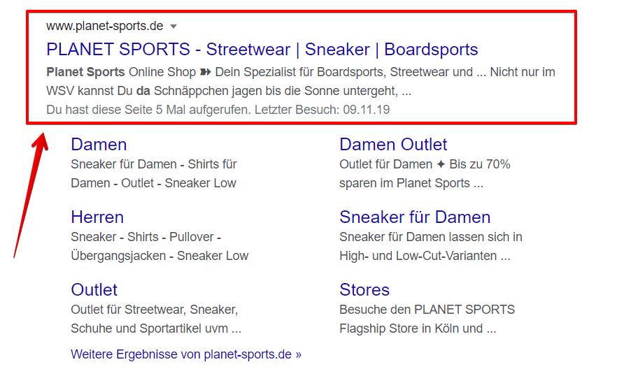 Meta Beschreibung von Planet Sports
