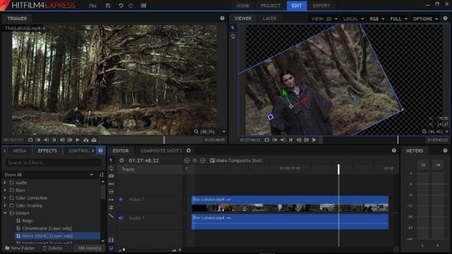 Screenshot videobearbeitungsprogramm HitFilm Express