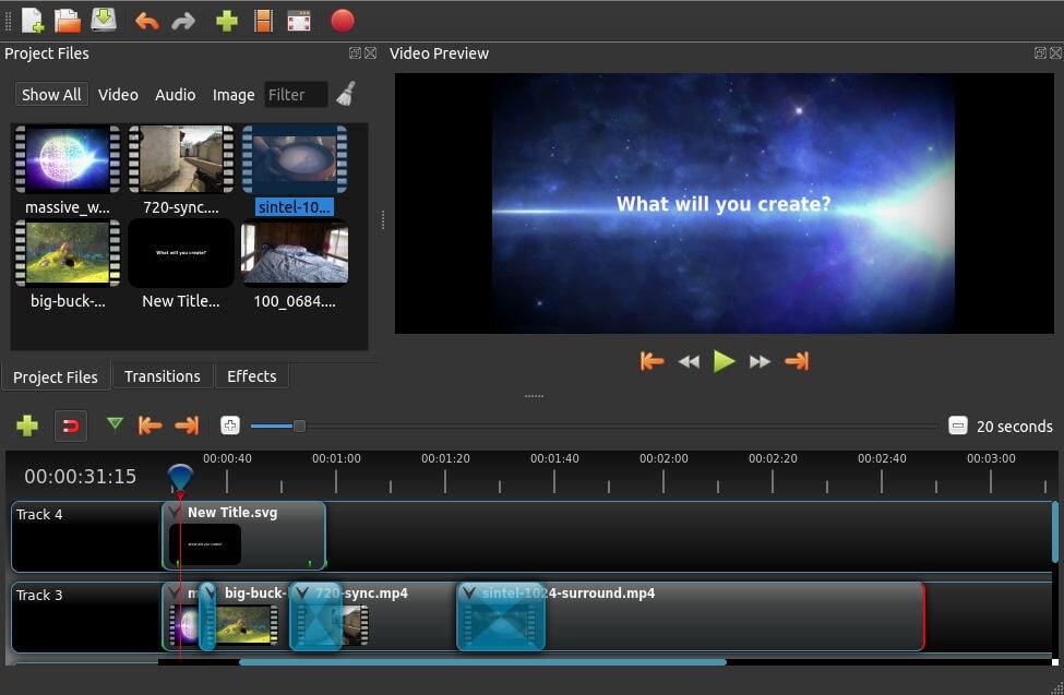 Screenshot videobearbeitungsprogramm Openshot