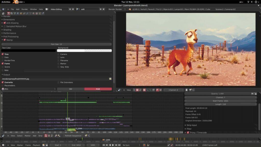 Screenshot videobearbeitungsprogramm Blender