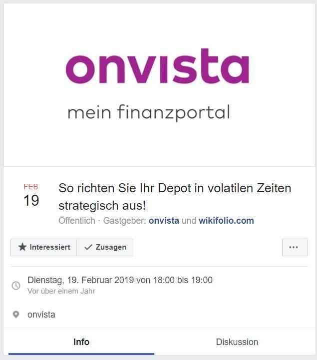 Onvista Webinar als Event auf Facebook