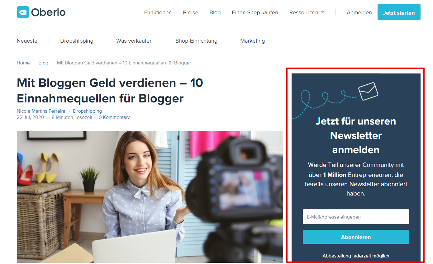 Digital Marketing Beispiel Oberlo