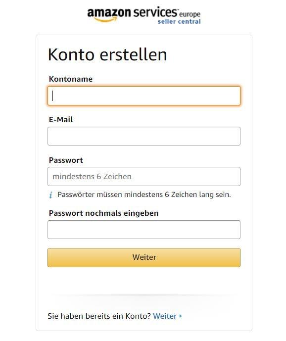 Bei Amazon verkaufen - Anmeldung Screenshot