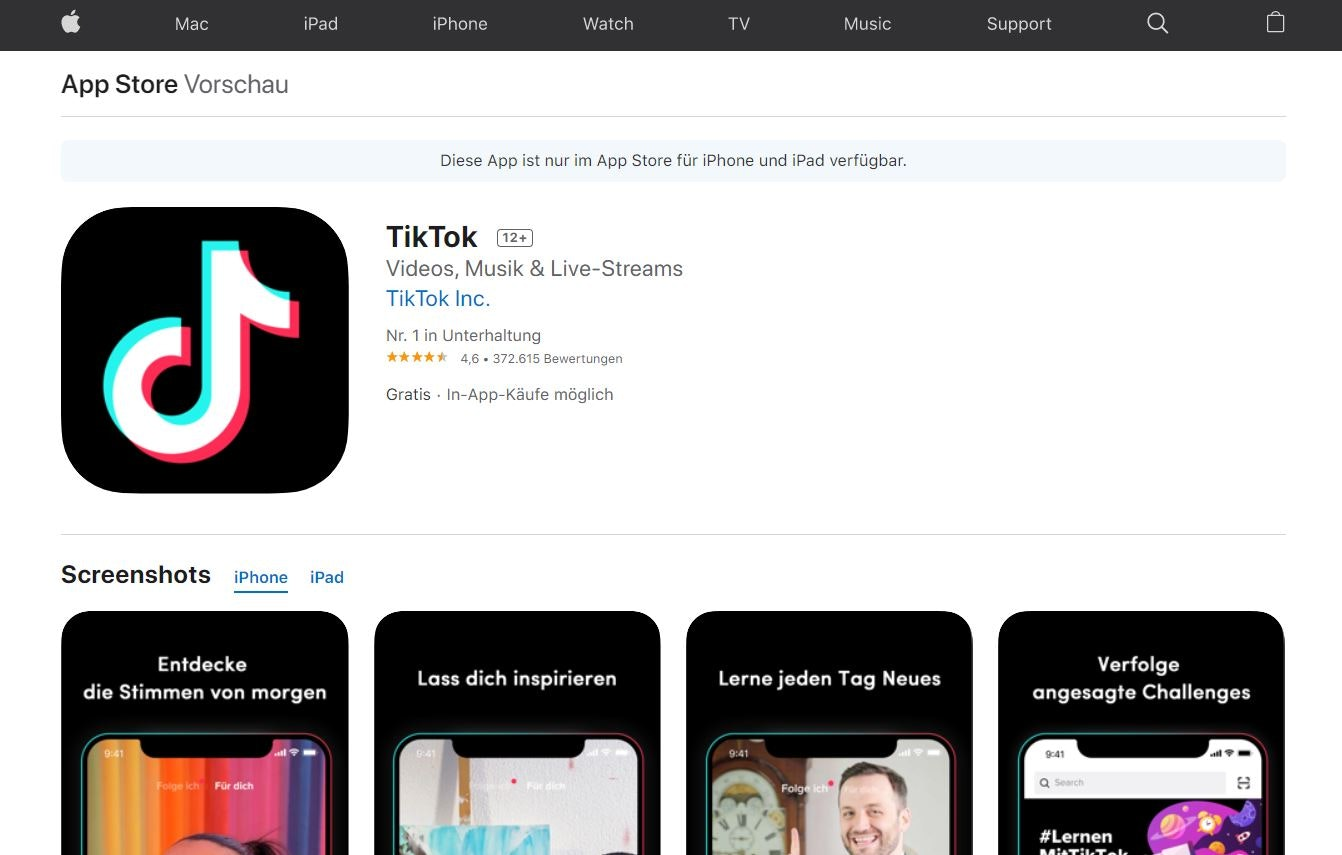 TikTok App im Apple App Store