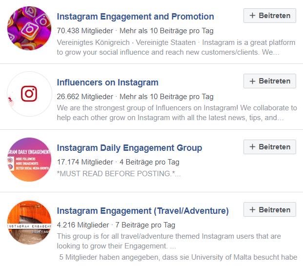 Instagram Follower bekommen über Engagement Groups