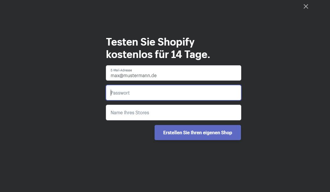 Anmeldemaske Shopify