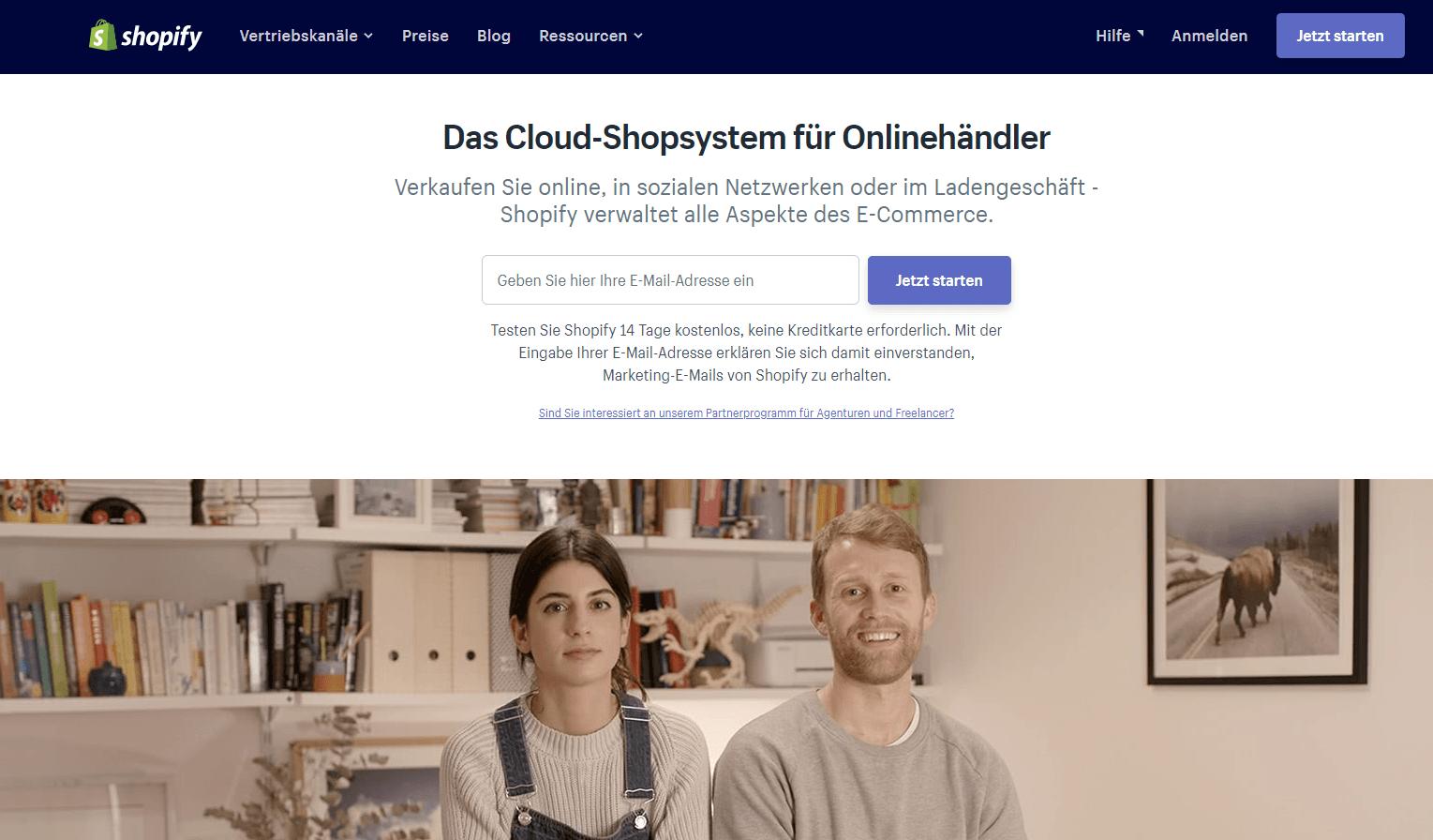 Bildschirm Anmeldung Shopify