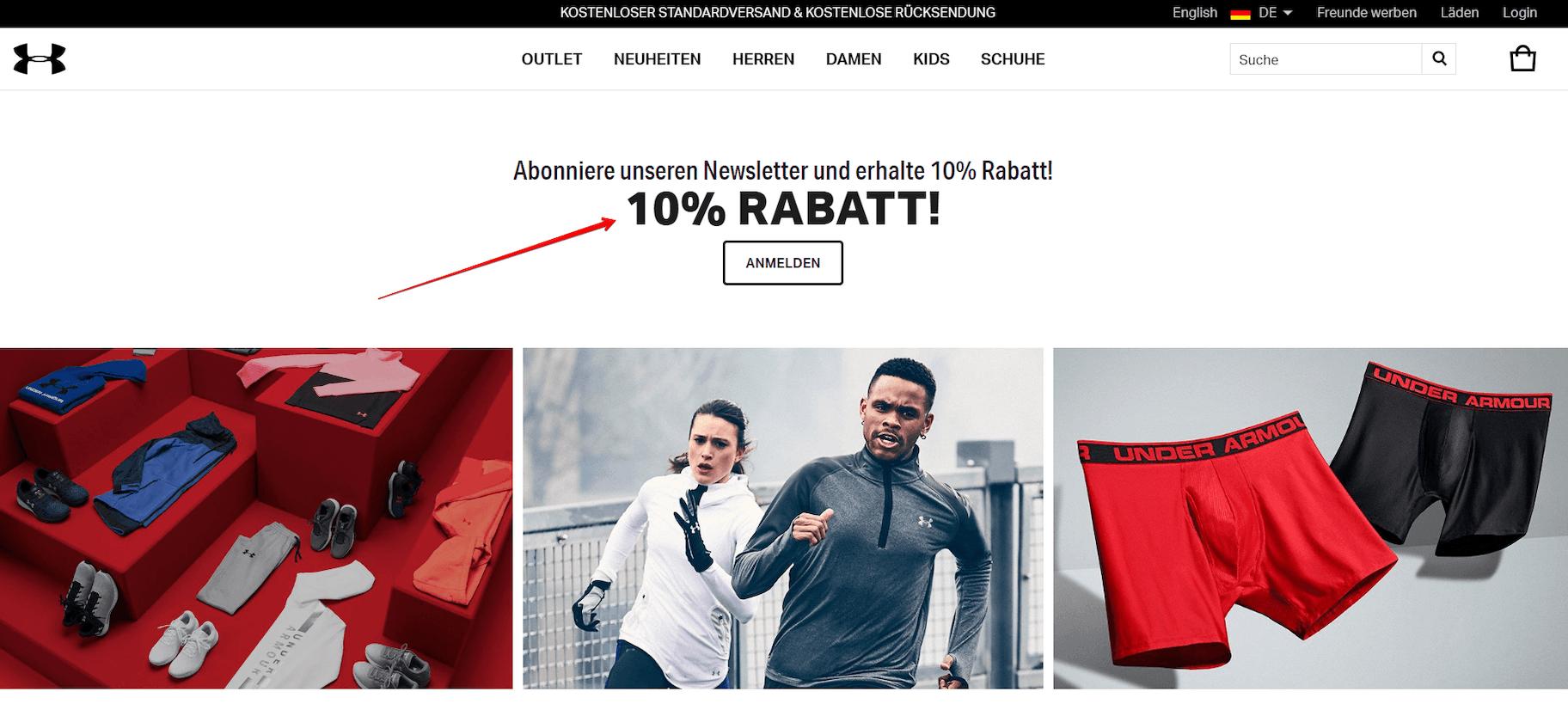 Email marketing von under armour deutschland