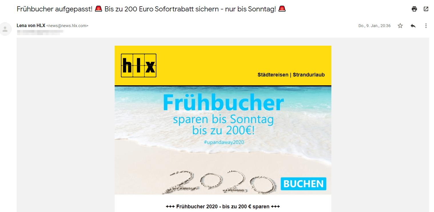 Email Marketing von HLX.com - Screenshot