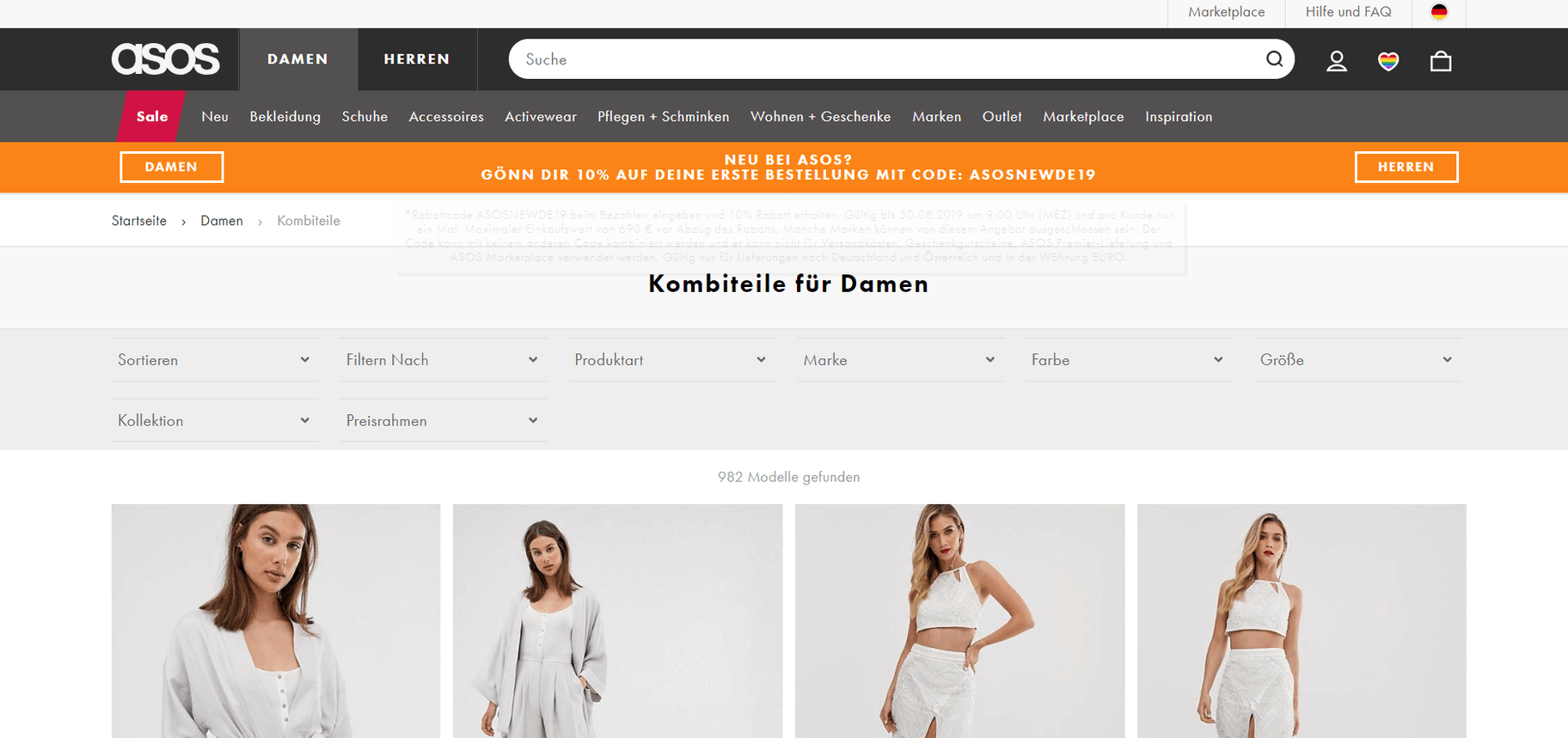 E-Commerce Vorteile & Nachteile - Asos Screenshot