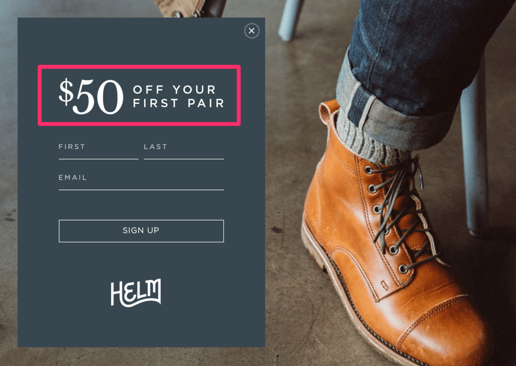 Helm Boots E-Mail Marketing Example