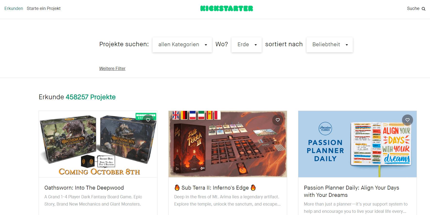 Trendkampagnen auf Kickstarter