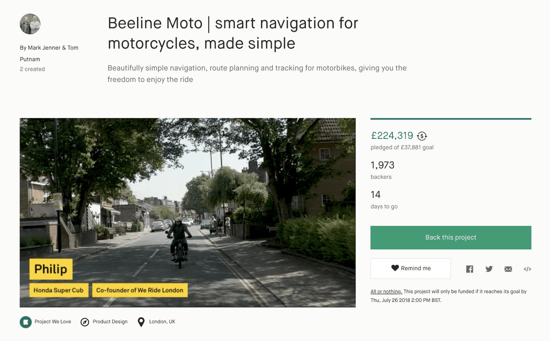 Crowdfunding Beispiel Beeline