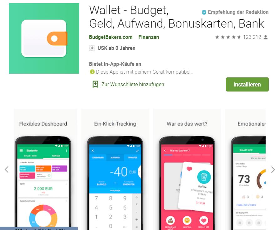 Finanzielle Freiheit - Screenshot Wallet App