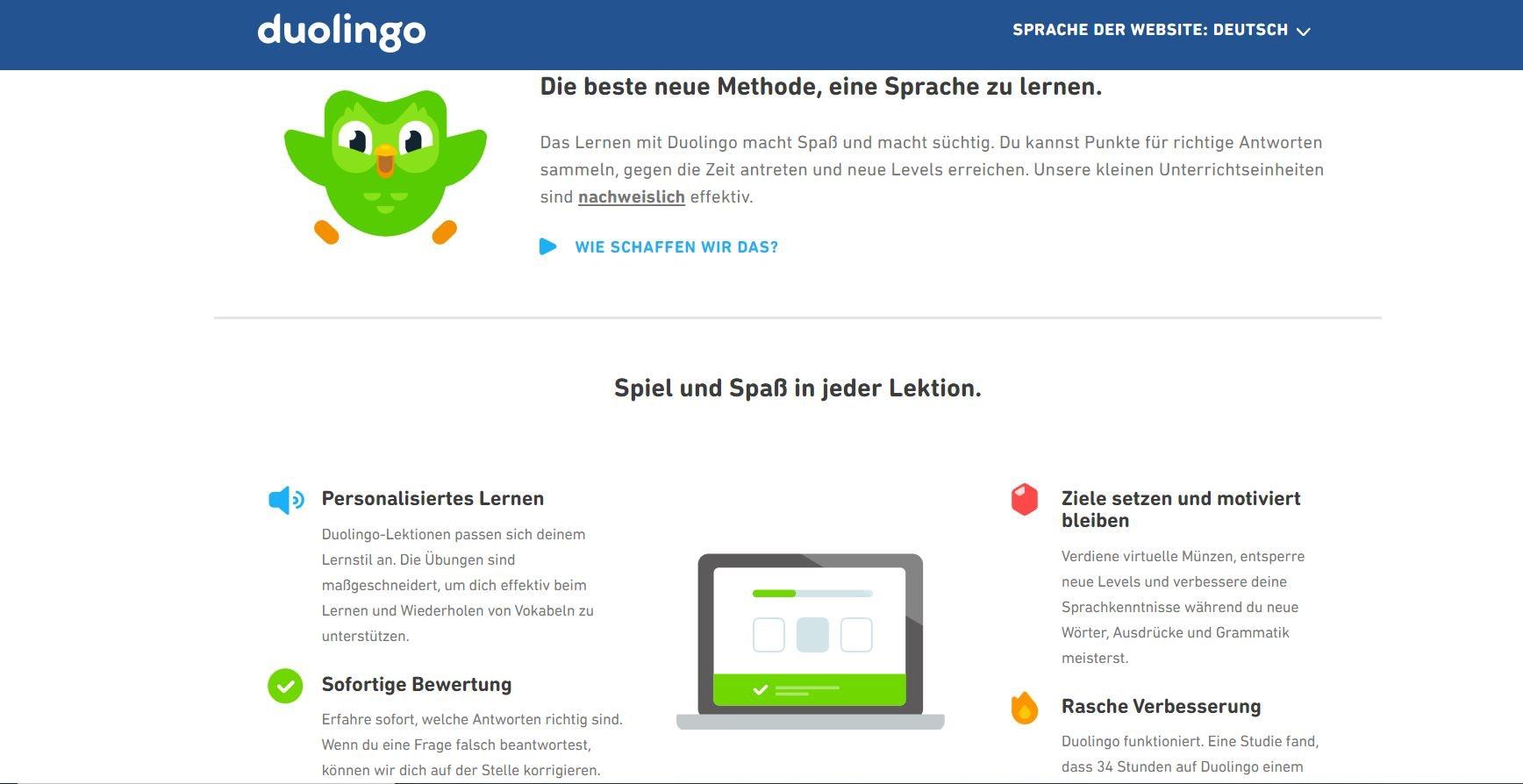Sprachkurs Online Kurs mit Duolingo