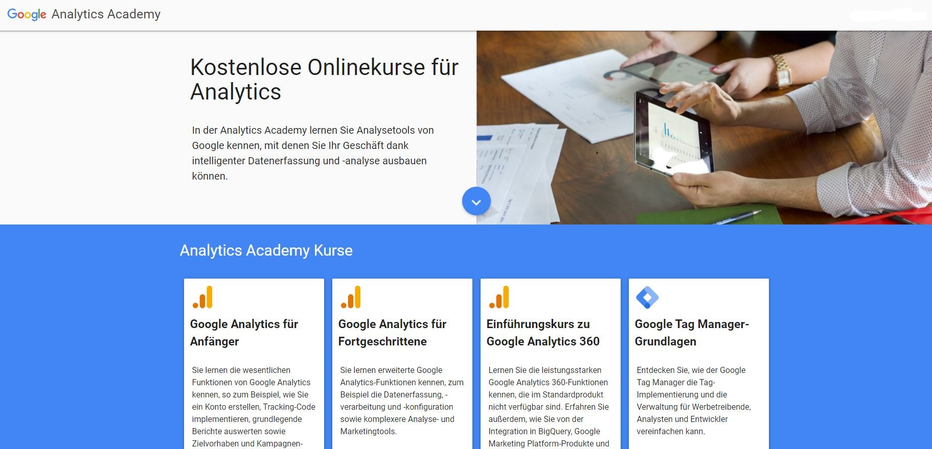 Google Analytics Academy Online Kurse