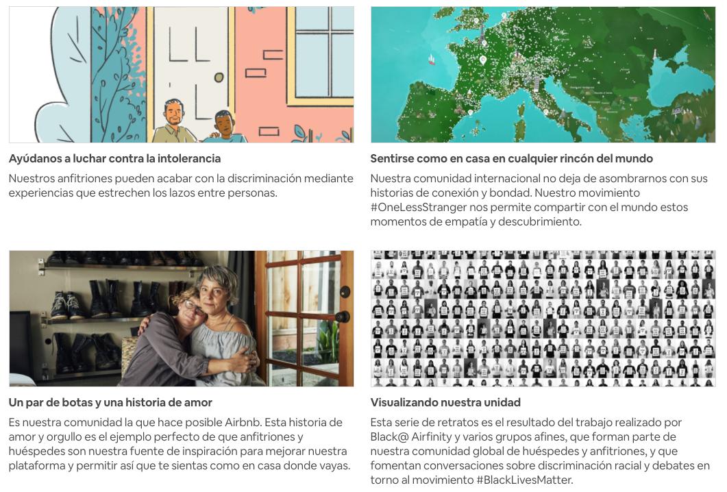los valores del storytelling de airbnb