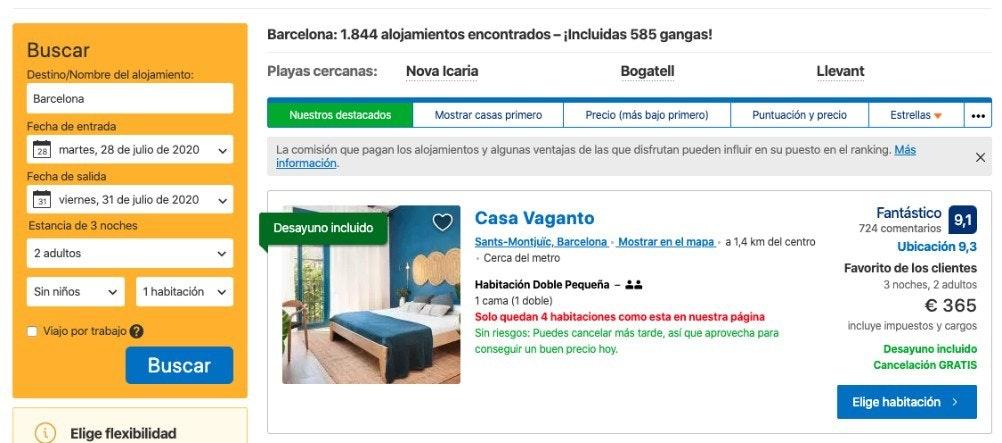 Booking.com - Estrategia de ventas que genera urgencia
